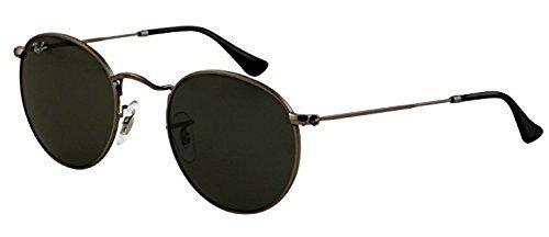Ray-Ban Round Metal RB 3447 Sunglasses Matte Gunmetal / Crystal Green 50mm & HDO Cleaning Carekit - Ban 3447 Sunglasses Ray