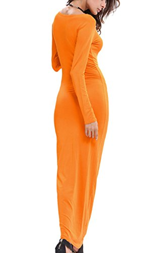 Damen Lange Ärmel Bodycon Lange Maxi Stift Partei Kleid Orange 8rdzC ...