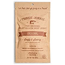 Three Jerks Gluten Free High Protein Filet Mignon Beef Jerky, Original, Pack of 3