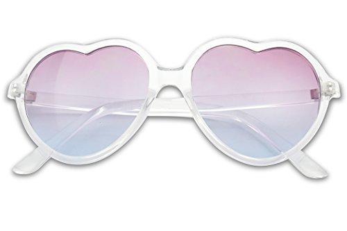 Women's Large Lolita Heart Shape Two-Tone Gradient Lens Transparent Frame Hippie Love Sun Glasses (Clear, Purple - Frame Transparent Blue