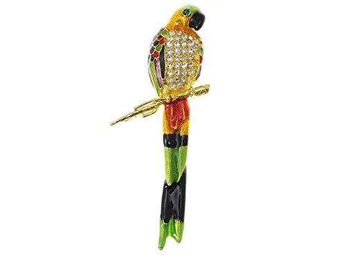 Crystal Parrot Pin (Watercolor Multicolor Hand Paint Perch Parrot Bird Crystal Rhinestone Pin Brooch)