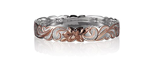 Gold Hawaiian Bracelets - Sterling Silver Rose Gold Plated 2 Tone Hawaiian Queen Scroll Bangle/Bracelet (8.5)