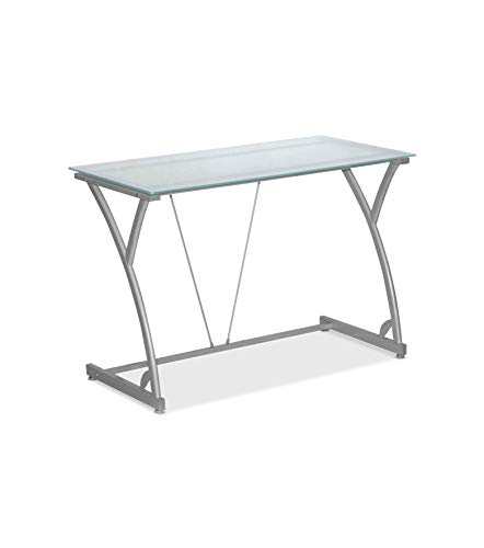 HON SDEHXTD1815 Sadie Table Desk with Frosted Glass Top (HXTD1815), Silver ()