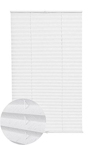 Plissee Jalousien Klemmträger Klemmfix Sicht- und Sonnenschutz Rollo für Türen Fenster Weiß 75x130 (BxH) lichtdurchlässig, 62600