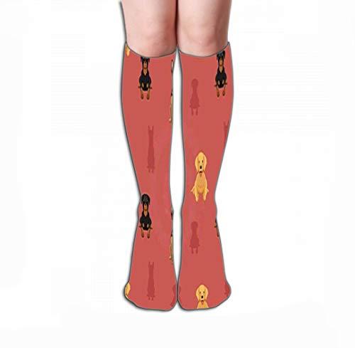 (Xunulyn Print Women's Knee High Socks Athletic Over-The-Calf Tube 19.7