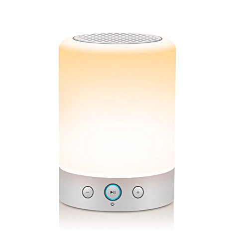 LIGHTSTORY Smart Light Speaker - Bedside Lamp with Speak, Sensitive Touch Sensor, Multi-Color Changing Table LED...
