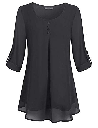 SUNAELIA Peasant Blouses, Womens Petite Long Sleeve Vintage Button Dowm Shirt Chiffon Lean Sleek Rolled Cool Fresh Draped Shirred Work Solid Color Customize Shift Top Zulily Streth A Line Tunic Black