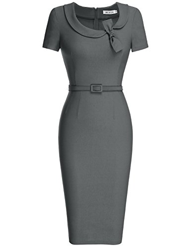 Dress Belted Gray (MUXXN Women's Elegant Scoop Neck Empire Waist Work Dress (S Gray))