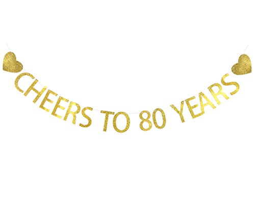 Cheers to 80 Years Heart Banner