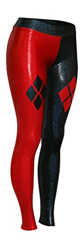Red and Black Leggings with Diamonds (Medium, Red (Naughty Harlequin Clown Costumes)