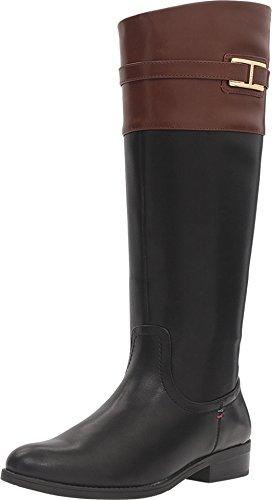 Tommy Hilfiger Women's Francel Black/Tan Boot 10 (Woman Boots Tommy Hilfiger)