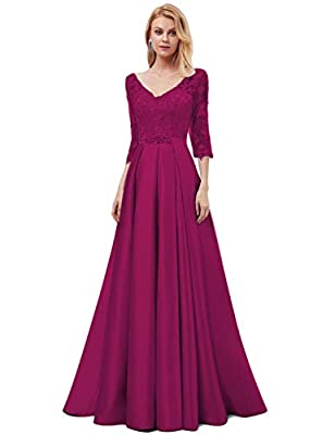 OYISHA Women's Long Lace Evening Dresses with 3/4 Sleeve Formal Beaded Satin A-Line Wedding Bridesmaid Dress EV29