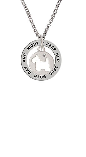 - Scottie Dog Silhouette - Keep Her Safe Affirmation Ring Necklace