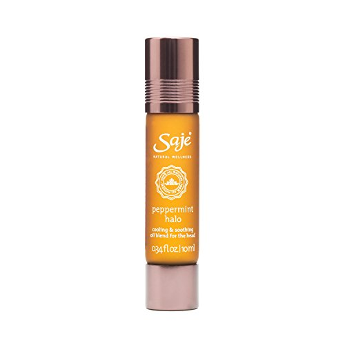 Saje Peppermint Halo Essential Oil Blend, Soothes the Head, Roll-On Application, 100% Natural (0.34 fl - Soothe Oil Wellness
