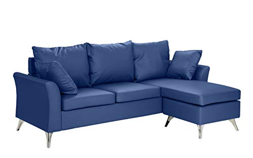 Casa Andrea Milano Modern PU Leather Sectional Sofa - Small Space  Configurable Couch (Blue)