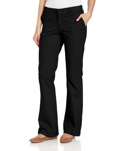 Dickies Women's Flat Front Stretch Twill Pant Slim Fit Bootcut, Black, 6 Long