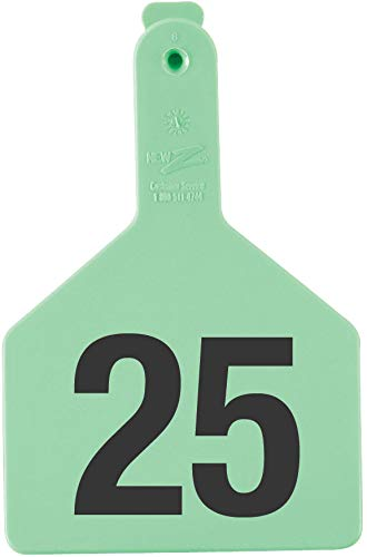 Z Tags 1-Piece Pre-Numbered Hot Stamp Tags for Cows, Numbers from 26 to 50, Green by Z Tags