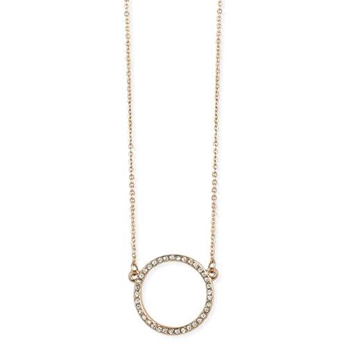 Zen Styles Goldtone Crystal CZ Diamond Geometric Open Round Circle Sweater Necklace, Minimalist Design Pendant Necklace for Women, Adjustable 16
