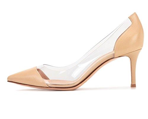 matt Womens Transparent Shoes Cap Pumps Pointed Stilettos Toe 8CM PVC Pumps PVC Heel Beige Dress High Eldof Event Wedding UfdwqAA