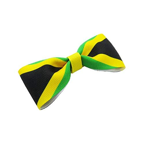 "2 RED YELLOW GREEN AND BLACK STRIPE 3/"" RASTA JAMAICA HAIR BOWS ALLIGATOR CLIP"