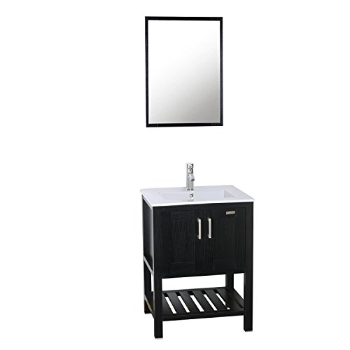 Eclife Bathroom Vanity & Sink Faucet Mirror Combo,24 inch Wide,Top Single Vitreous Ceramic Porcelain Lavatory,Solid Brass Chrome Brass Faucet with Pop Up Drain Overflow Rectangular White/Black A8B7