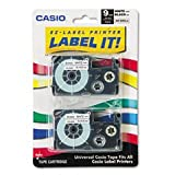 Casio XR9WE2S Tape Cassettes for KL Label Makers, 9mm x 26ft, Black on White,