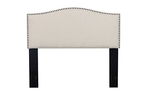 Container Furniture Direct Haven Collection Modern Upholstered Linen Fabric Bedroom Headboard with Nailhead Trim, ()