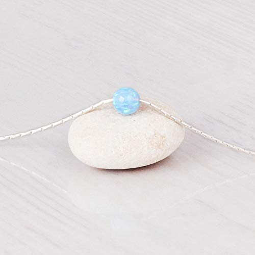 (Sterling silver Choker Necklace with 5mm Blue Opal Ball - Designer Handmade Delicate Collar - Length: 13.5 inch + 3 inch Extender)