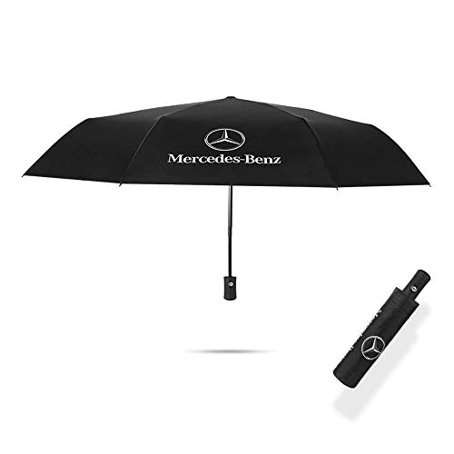 (Compact Folding Umbrella, Black Automatic Folding 8 Ribs Reinforced Rid Superb Windproof Waterproof Umbrella, Auto Open/Close for One Handed Operation with Mercedes Benz Logo)
