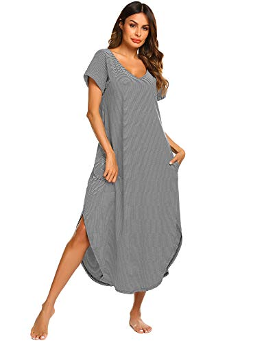 Ekouaer Nightshirts Women's Cotton Nightgown Short Sleeve Long Sleepwear with Pockets (Navy,L) ()