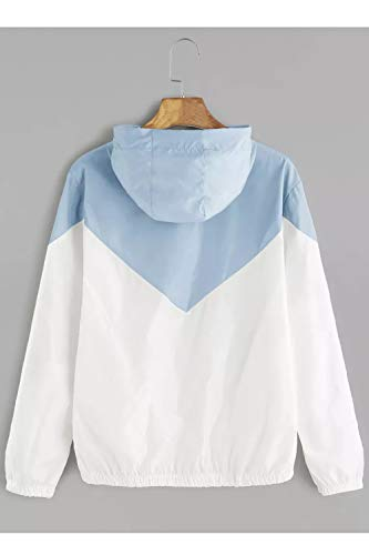 La Chiarocolor Manica Blu Giacca Incappucciato Colore Lunga Cerniera Sopliagon Le Di Donne Bloccare Taglia qATXgA