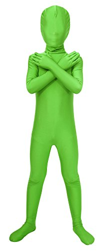 Lycra Superhero Costumes (Sheface Kids Spandex Full Bodysuit Fancy Dress Costume (Large, Lime Green))