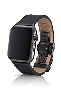 44mm JUUK Korza Vayder Premium Watch Band Made for The Apple Watch, Made with Genuine Italian Leather with a Solid Stainless Steel deployant Buckle (Black Components)