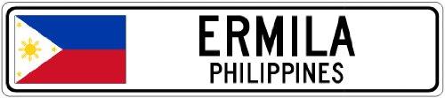 ERMILA, PHILIPPINES - Philippines Flag Aluminum City Sign - 9 x 36 Inches