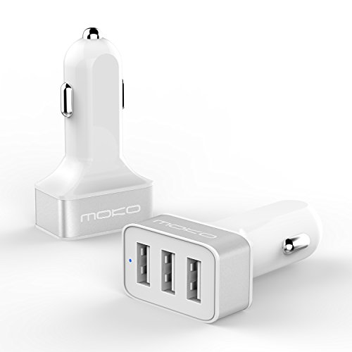 """MoKo 3-Port USB Car Charger, 36W / 7.2A with Smart Charging Technology for iPhone 7 / 7 Plus / 6s / 6s Plus, iPad Pro 9.7""""/ Pro 12.9""""/ Mini 4 / Air 2, and More Devices, WHITE & SILVER"""