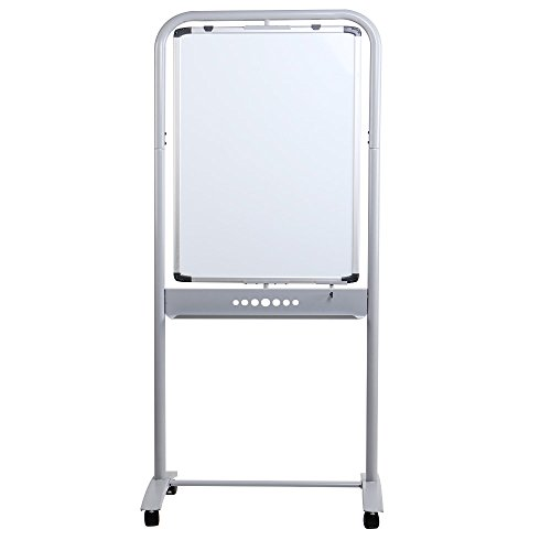 VIZ-PRO Double-Sided Magetic Mobile Whiteboard, Portrait Orientation, Steel Stand