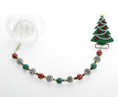 Crystal Dream árbol de Navidad chupete clip: Amazon.es: Bebé