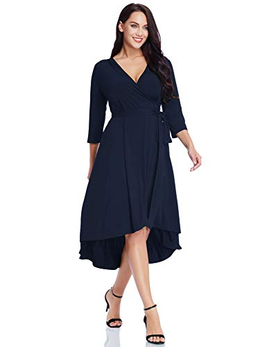 GRAPENT Women's Plus Size Solid V Neck Knee Length 3/4 Sleeve Hi Lo True Wrap Dress Surplice Flared Skirt Navy Blue Size -