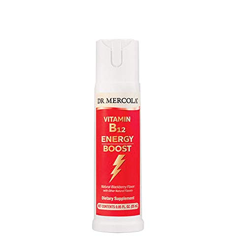 Dr. Mercola Vitamin B12 Energy Booster Spray - Formulated With Methylcobalamin - Natural Blackberry Flavor - .85 Ounces (2) ()