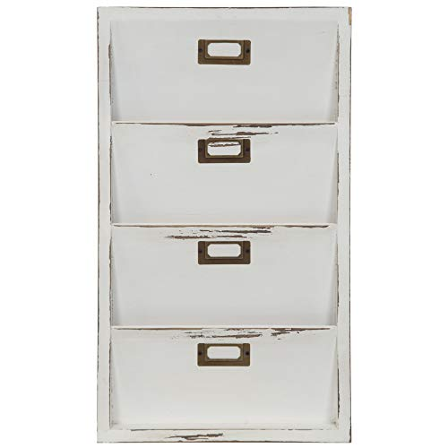 Everly Hart Collection Distressed White Mail Organizer Letter Bin Décor or Wall Art