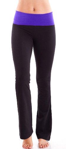 purple-ladies-color-block-rolled-waist-black-yoga-pants