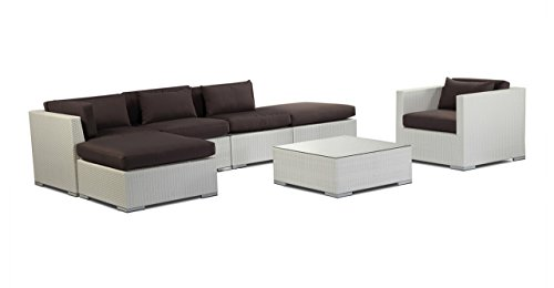 Kardiel  White Wicker Outdoor Garden Furniture Patio Sofa Sectional Modify-It Lanai 7 Piece Set, Graphite (Modern Outdoor Furniture Overstock)