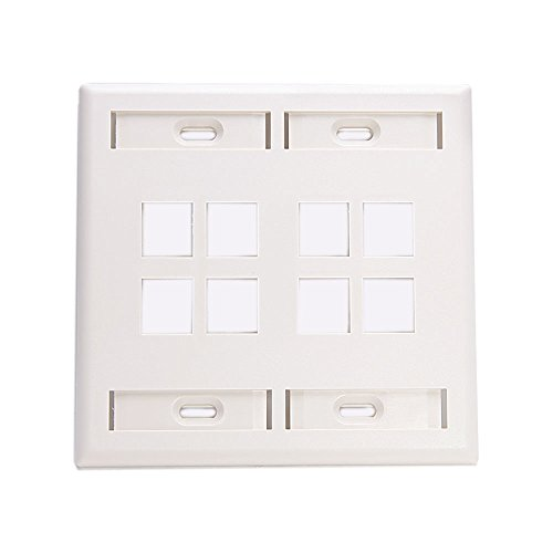Leviton 42080-8WP 8-Port Dual Gang QuickPort Wallplate with ID Windows, White