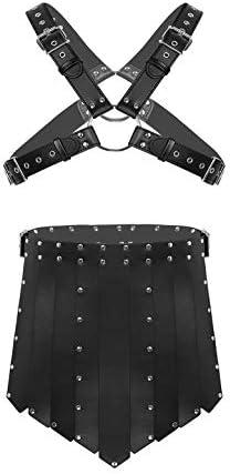 Yeahdor Herren Wetlook Harness Gladiator Kostüm PU-Leder Brust Körper Geschirr mit Kilt Rock Kurz Lendenschurz Party Cosplay Schwarz