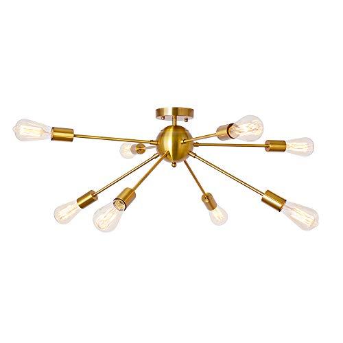 Sputnik Chandelier Brushed Brass 8 Light Rustic Flush Mount Ceiling Light Gold Modern Pendant Lighting Fixtures for…