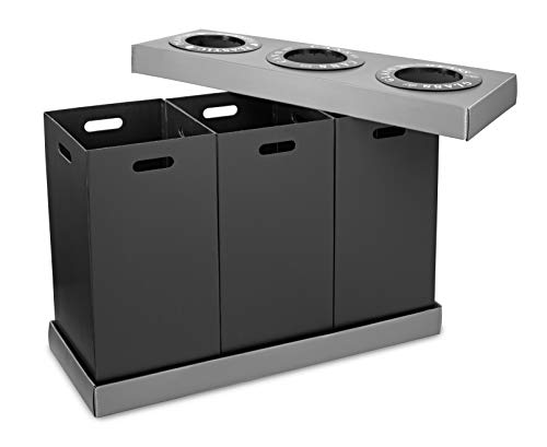 Alpine Industries Recycling Center 28 Gallons - Durable Plastic Waste/Trash Organizer Ideal for Kitchen Office Hospital Commercial Use (3 Bins) by Alpine (Image #1)
