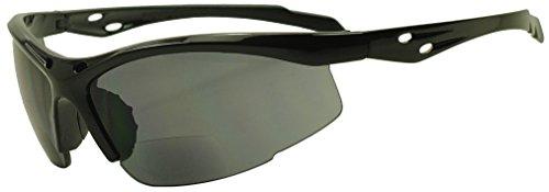 Sunglass Stop - Unisex Half-frame Sports Wrap Bifocal Sunglasses Rx Strength +150 +175 +200 +250 +275 +325 (Black (Bifocal), - Sports Sunglasses Rx