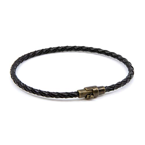 Lobo Verde Handmade Single Wrap Braided Leather Bracelet with Magnetic Copper Clasp (Black, 8)