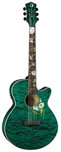 Luna Flora Series Moonflower Custom Folk Acoustic-Electric Guitar - Trans Mallard