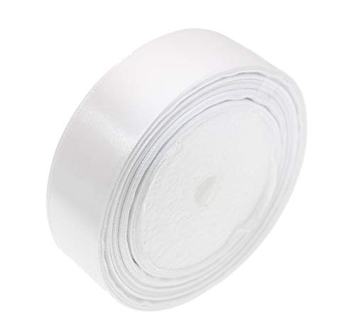 ATRibbons 50 Yards 1 Inch Wide Satin Ribbon Perfect for Wedding,Handmade Bows and Gift Wrapping,25 Yards/Roll x 2 Rolls (White)